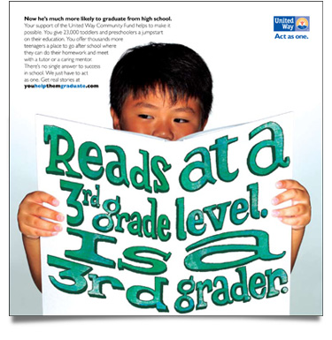 United Way 'Reads at a Third Grade Level' Print Ad
