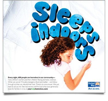 United Way 'Sleeps Indoors' Print Ad